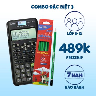 COMBO ĐẶC BIỆT 3: Casio Fx-570VN Plus NEW + 1 Hộp Bút chì đen 2B ( 12 cây )