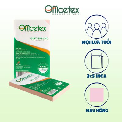 Giấy ghi chú Officetex 3 x 5 màu hồng