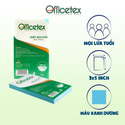 Giấy ghi chú Officetex 3 x 5 màu xanh dương