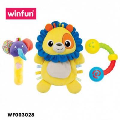 Set 3 đồ chơi cầm tay xúc xắc chíp chíp, thú bông sột soạt hình sư tử Winfun - 3028