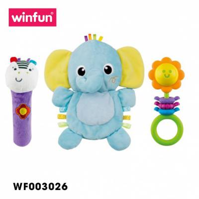 Set 3 đồ chơi cầm tay xúc xắc chíp chíp, voi sột soạt Winfun 3026