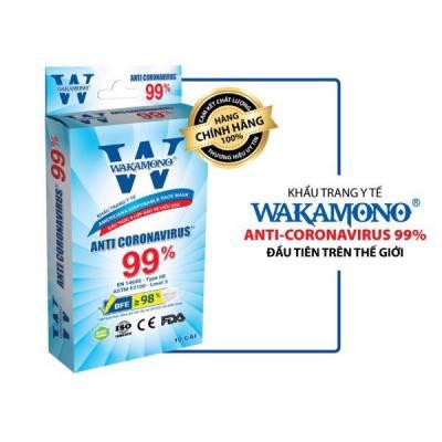 Khẩu Trang Y Tế 4 Lớp WAKAMONO Diệt Virus Corona 99% (10 Cái/Hộp)