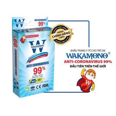 Khẩu Trang Y Tế Trẻ Em 4 Lớp WAKAMONO Diệt Virus Corona 99% (10 Cái/Hộp)