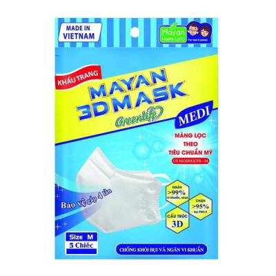 Khẩu Trang Chống Bụi Và Ngăn Vi Khuẩn MAYAN 3D MASK PM2.5 MEDI (5 chiếc)