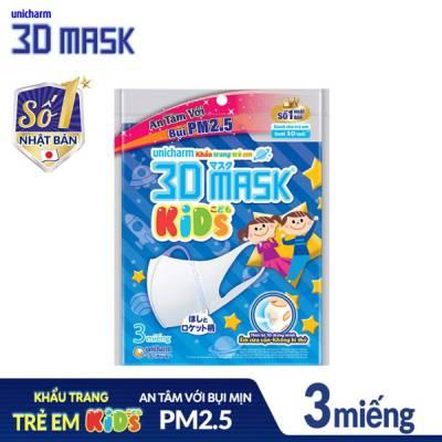 Khẩu trang Trẻ Em Ngăn Ngừa Vi Khuẩn UNICHARM 3D MASK KIDS (3 miếng)