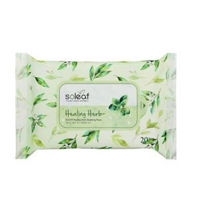 Khăn Giấy Tẩy Trang SOLEAF HEALING HERB CLEANSING TISSUE [20 sheets]