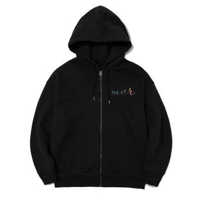 Hoodie zip kéo khóa logo chữ ký mvr phản quang 7 màu - MVR25022112- đen