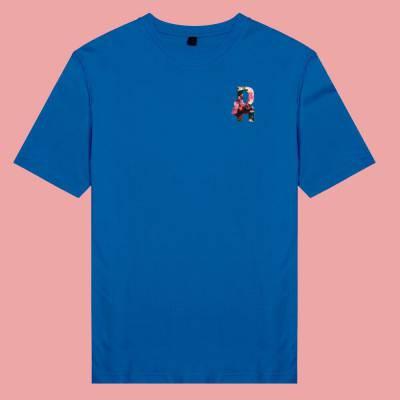 Áo thun unisex cotton 100%  in hình Floral Text - R (màu xanh dương)