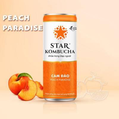Thùng 12 lon thức uống lên men STAR KOMBUCHA Cam Đào / Peach Paradise (250ml/lon)