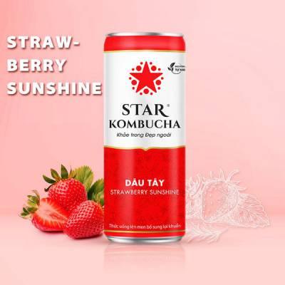 Thùng 12 lon thức uống lên men STAR KOMBUCHA Dâu Tây / Strawberry Sunshine (250ml/lon)
