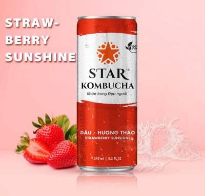 Thùng 12 Lon Thức uống lên men STAR KOMBUCHA - Dâu Hương Thảo / Strawberry Sunshine (250ml / Lon)
