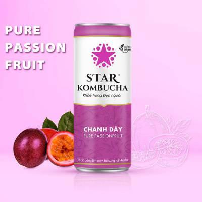 Thùng 12 lon thức uống lên men STAR KOMBUCHA Chanh Dây / Pure Passionfruit (250ml/lon)