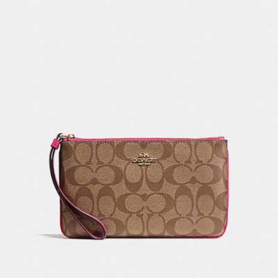 Túi xách thời trang nữ COACH-F58695  LARGE WRISTLET IN SIGNATURE CANVAS